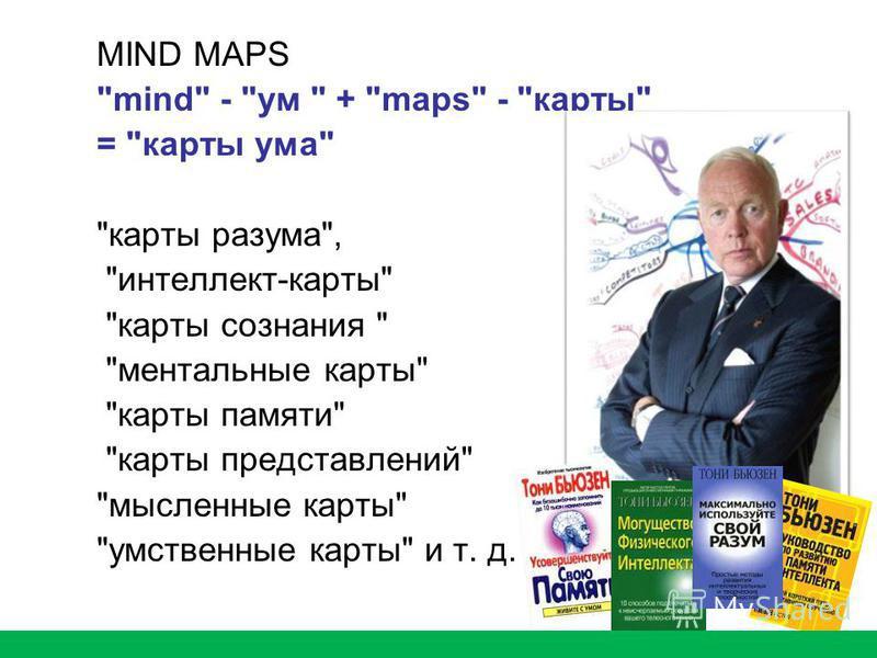 MIND MAPS mind - ум  + maps - карты = карты ума карты разума, интеллект-карты карты сознания  ментальные карты карты памяти карты представлений мысленные карты умственные карты и т. д.