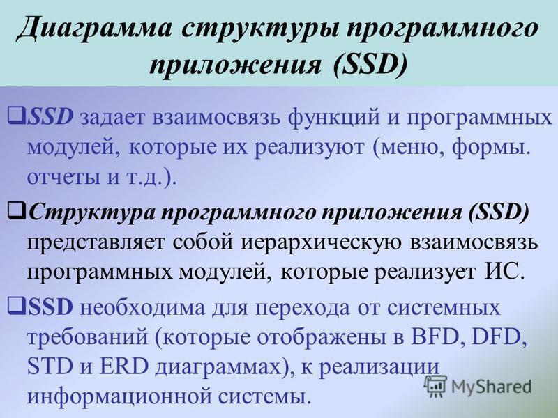 Диаграмма структуры программного приложения (SSD) SSD задает взаимосвязь функций и программных модулей, которые их реализуют (меню, формы. отчеты и т.д.). Структура программного приложения (SSD) представляет собой иерархическую взаимосвязь программны