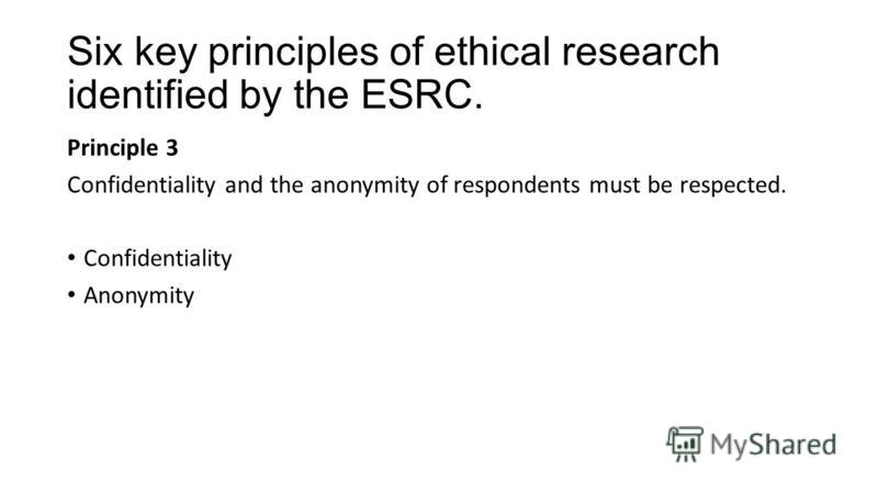 Six key principles of ethical research identified by the ESRC. Principle 3 Confidentiality and the anonymity of respondents must be respected. Confidentiality Anonymity