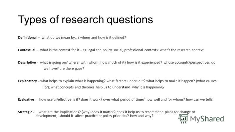 Types of research questions Definitional – what do we mean by…? where and how is it defined? Contextual – what is the context for it – eg legal and policy, social, professional contexts; whats the research context Descriptive - what is going on? wher