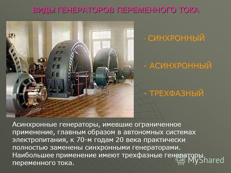 ВИДЫ ГЕНЕРАТОРОВ ПЕРЕМЕННОГО ТОКА - С- СИНХРОННЫЙ - АСИНХРОННЫЙ - ТРЕХФАЗНЫЙ Асинхронные генераторы, имевшие ограниченное применение, главным образом в автономных системах электропитания, к 70-м годам 20 века практически полностью заменены синхронным