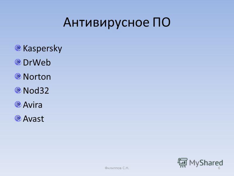 Антивирусное ПО Kaspersky DrWeb Norton Nod32 Avira Avast 6Филиппов С.Н.