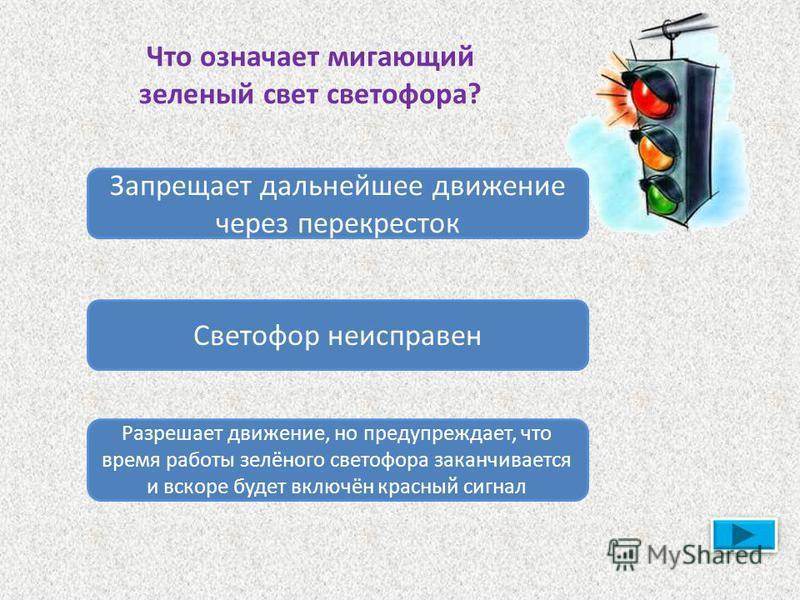 Что означает мигающий зеленый свет светофора? Запрещает дальнейшее движение через перекресток Светофор неисправен Разрешает движение, но предупреждает, что время работы зелёного светофора заканчивается и вскоре будет включён красный сигнал