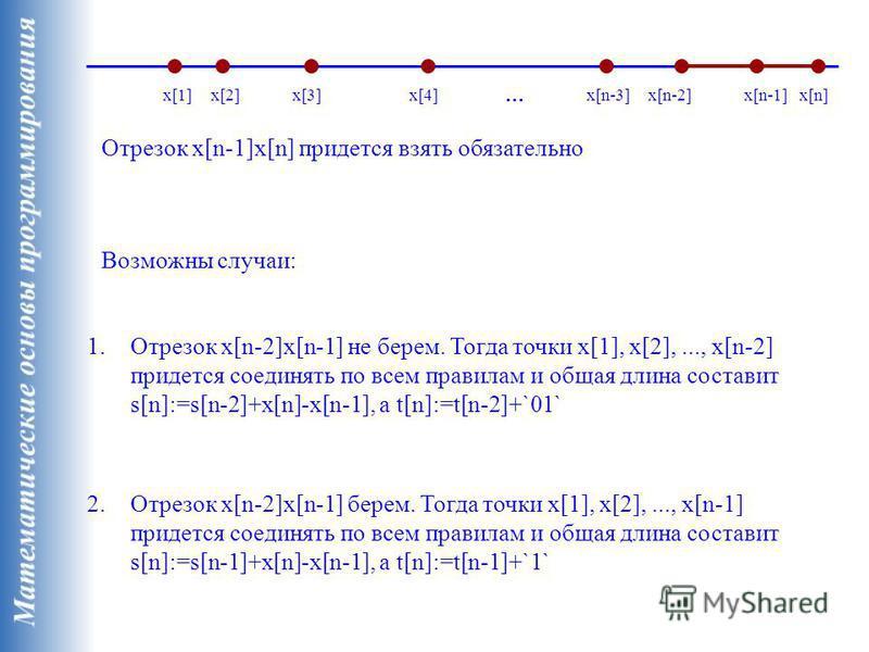 x[1]x[2]x[3]x[4] Отрезок x[n-1]x[n] придется взять обязательно x[n]x[n-2]x[n-1]x[n-3] … Возможны случаи: 1. Отрезок x[n-2]x[n-1] не берем. Тогда точки x[1], x[2],..., x[n-2] придется соединять по всем правилам и общая длина составит s[n]:=s[n-2]+x[n]