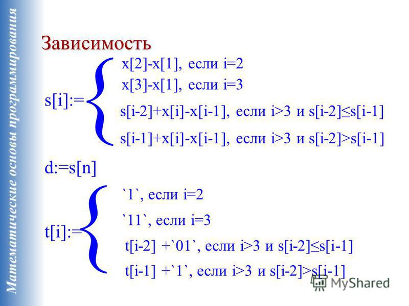 Зависимость s[i]:= x[2]-x[1], если i=2 d:=s[n] x[3]-x[1], если i=3 s[i-2]+x[i]-x[i-1], если i>3 и s[i-2]s[i-1] t[i]:= `1`, если i=2 `11`, если i=3 t[i-2] +`01`, если i>3 и s[i-2]s[i-1] t[i-1] +`1`, если i>3 и s[i-2]>s[i-1] s[i-1]+x[i]-x[i-1], если i>