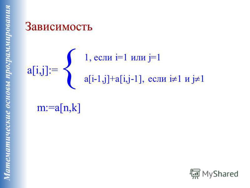 Зависимость a[i,j]:= 1, если i=1 или j=1 a[i-1,j]+a[i,j-1], если i 1 и j 1 m:=a[n,k]