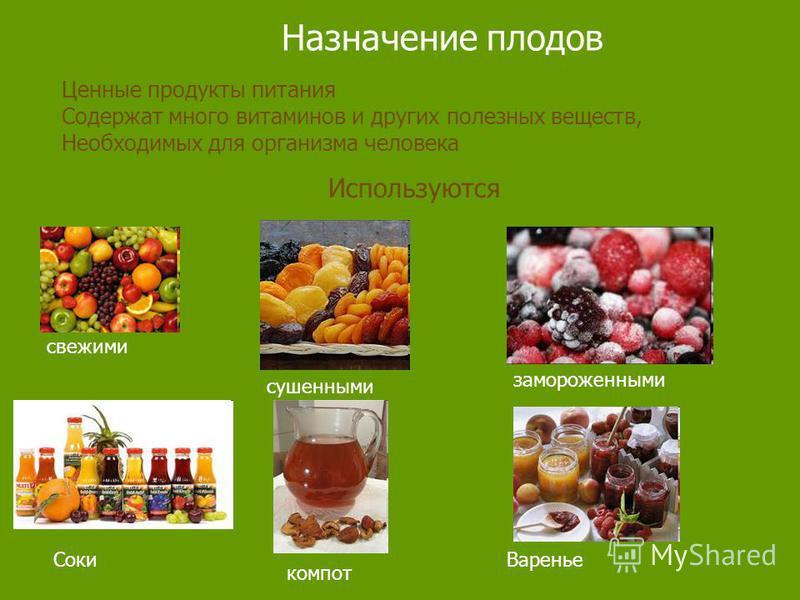 Назначение плодов Ценные продукты питания Содержат много витаминов и других полезных веществ, Необходимых для организма человека Используются свежими сушенными замороженными Соки компот Варенье
