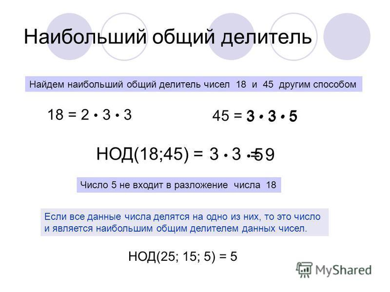 Наибольший общий делитель Найдем наибольший общий делитель чисел 18 и 45 другим способом 18 = 2 3 3 НОД(18;45) = 45 = 3 3 5 3 5 3 3 5 Число 5 не входит в разложение числа 18 = 9 Если все данные числа делятся на одно из них, то это число и является на