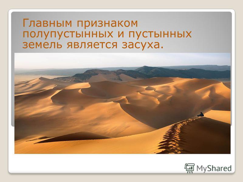 Главным признаком полупустынных и пустынных земель является засуха.