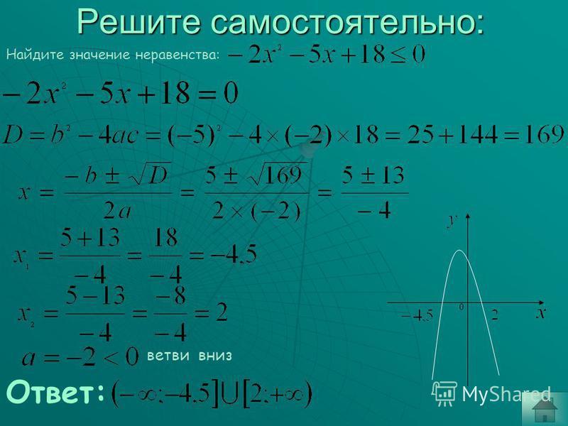 Неполные квадратные уравнения. 2. 2 корня 1 корень (реш.нет) Ответ: Ответ: