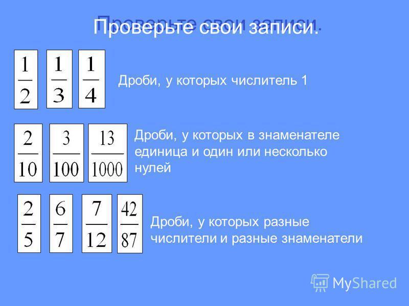 Проверьте свои записи. Дроби, у которых числитель 1 Дроби, у которых в знаменателе единица и один или несколько нулей Дроби, у которых разные числители и разные знаменатели