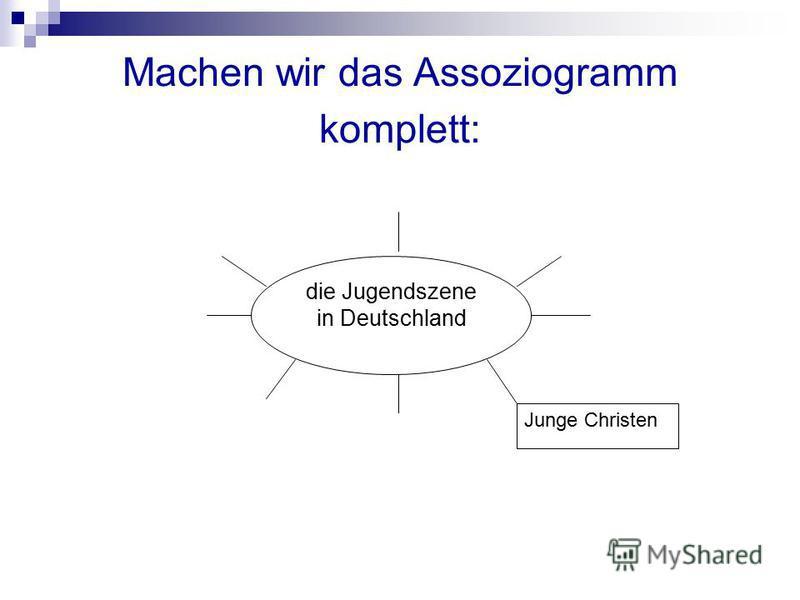 Machen wir das Assoziogramm komplett: die Jugendszene in Deutschland Junge Christen