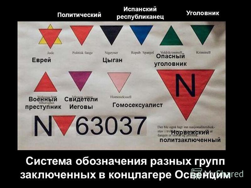Система обозначения разных групп заключенных в концлагере Освенцим Еврей Политический Цыган Уголовник Гомосексуалист Военный преступник Испанский республиканец Опасный уголовник Норвежский политзаключенный Свидетели Иеговы