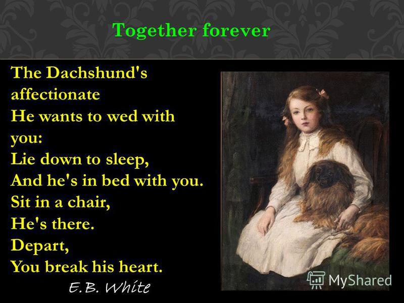 Together forever The Dachshund's affectionate He wants to wed with you: Lie down to sleep, And he's in bed with you. Sit in a chair, He's there. Depart, You break his heart. E.B. White