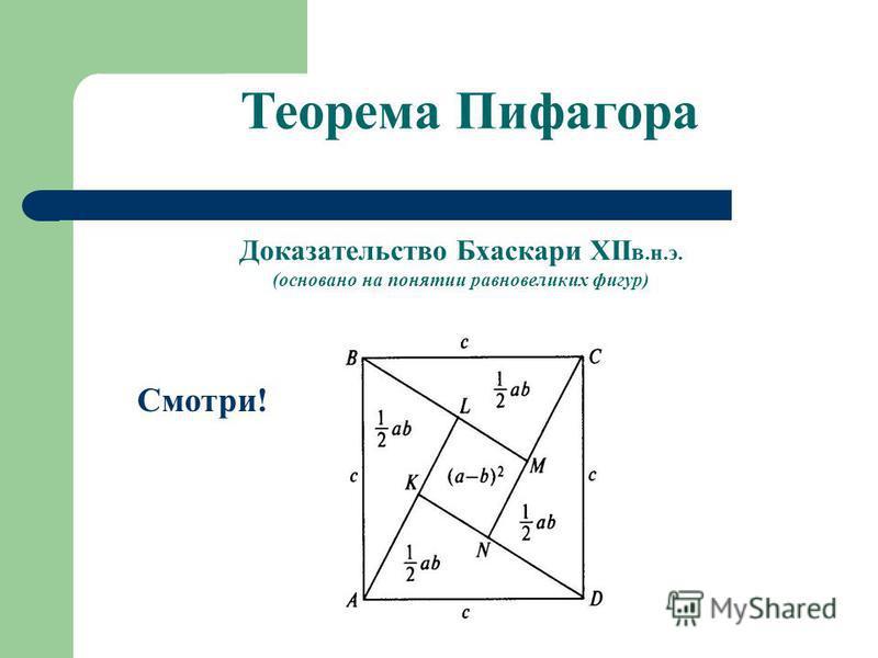 Доказательство Бхаскари XII в.н.э. (основано на понятии равновеликих фигур) Смотри! Теорема Пифагора