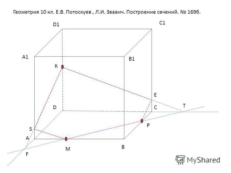 Геометрия 10 кл. Е.В. Потоскуев, Л.И. Звавич. Построение сечений. 169 б. А В СD А1А1 В1В1 С1С1 D1 М Р К Т Е F S