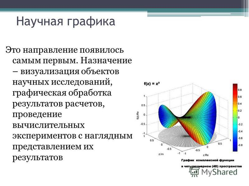 Научная графика Это направление появилось самым первым. Назначение – визуализация объектов научных исследований, графическая обработка результатов расчетов, проведение вычислительных экспериментов с наглядным представлением их результатов