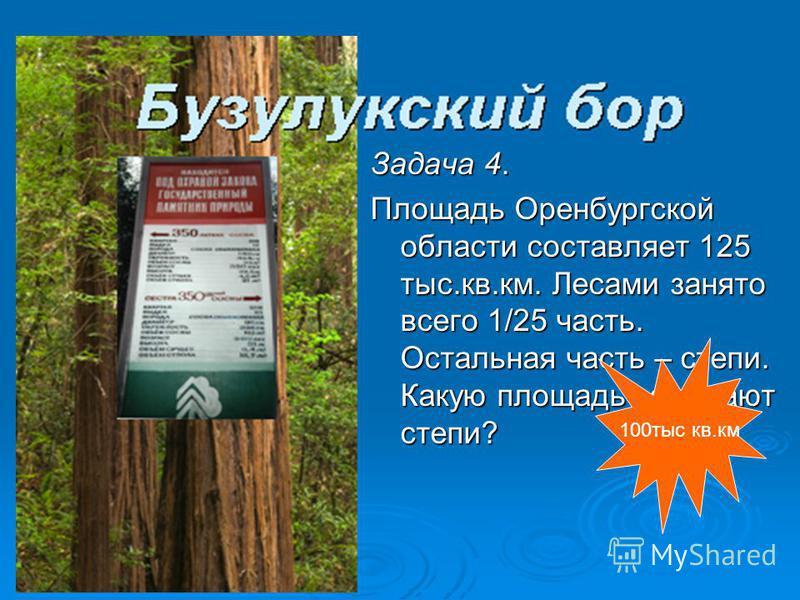 Задача 4. Площадь Оренбургской области составляет 125 тыс.кв.км. Лесами занято всего 1/25 часть. Остальная часть – степи. Какую площадь занимают степи? 100 тыс кв.км