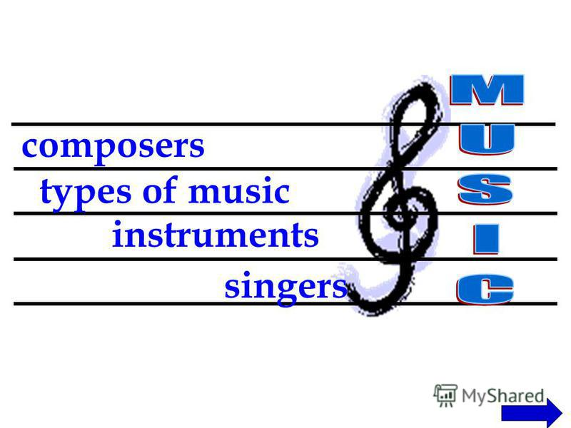 composers types of music instruments singers
