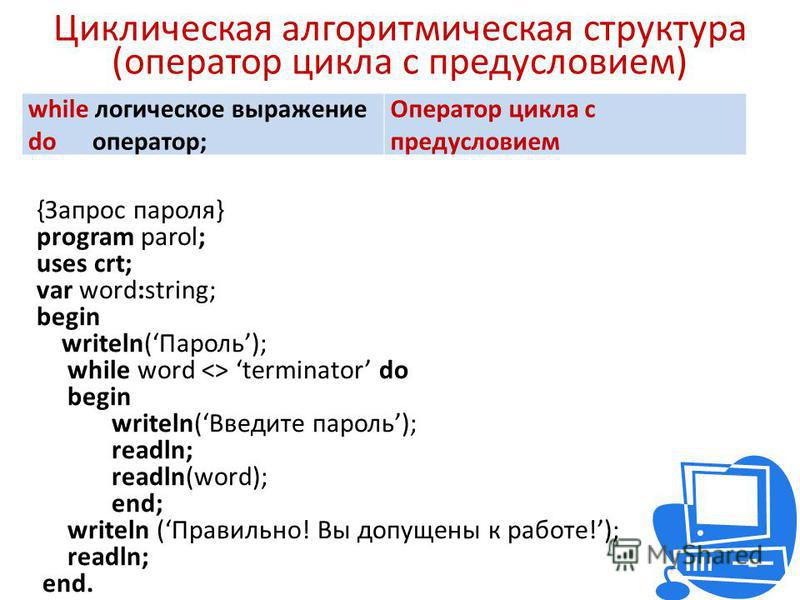 Циклическая алгоритмическая структура (оператор цикла с предусловием) while логическое выражение do оператор; Оператор цикла с предусловием {Запрос пароля} program parol; uses crt; var word:string; begin writeln(Пароль); while word <> terminator do b