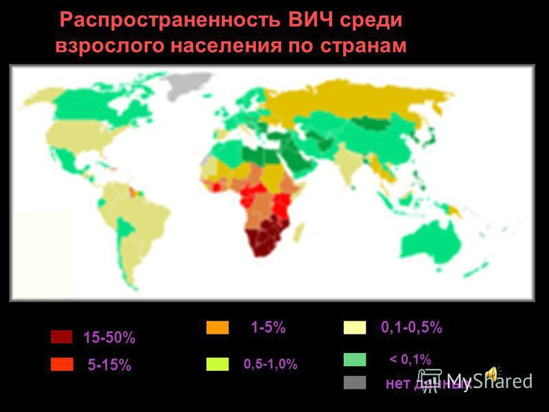 Распространенность ВИЧ среди взрослого населения по странам 15-50% 5-15% 1-5% 0,5-1,0% 0,1-0,5% < 0,1% нет данных