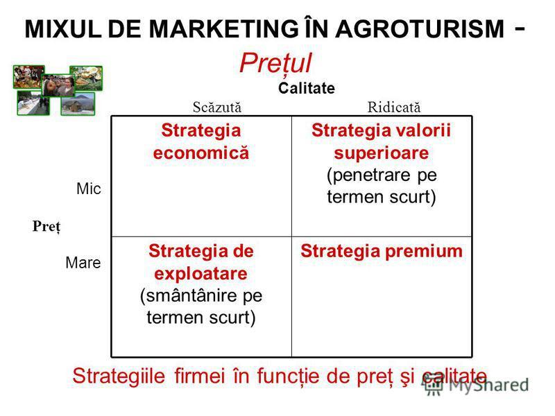 Strategiile firmei în funcţie de preţ şi calitate Calitate Scăzută Ridicată Mic Preţ Mare Strategia premiumStrategia de exploatare (smântânire pe termen scurt) Strategia valorii superioare (penetrare pe termen scurt) Strategia economică MIXUL DE MARK