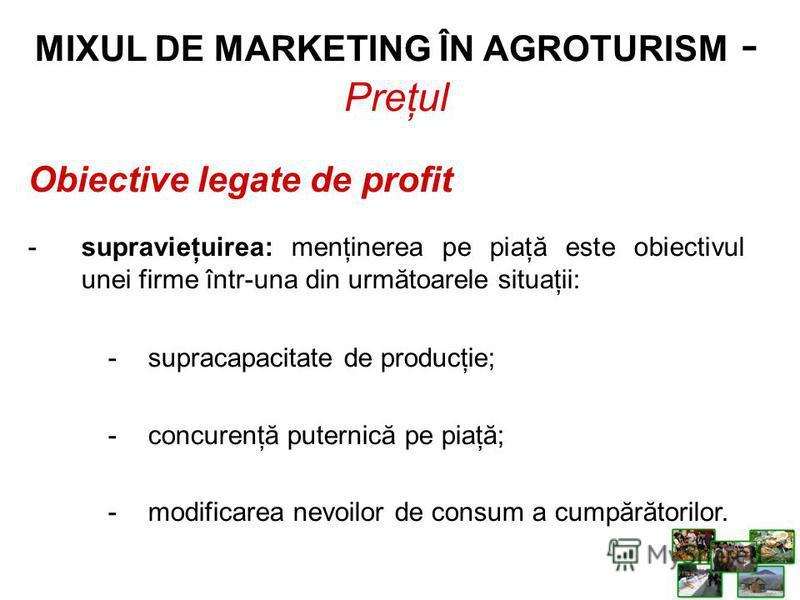 Obiective legate de profit -supravieţuirea: menţinerea pe piaţă este obiectivul unei firme într-una din următoarele situaţii: -supracapacitate de producţie; -concurenţă puternică pe piaţă; -modificarea nevoilor de consum a cumpărătorilor. MIXUL DE MA