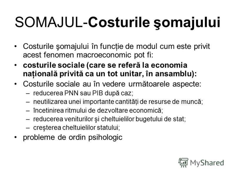 SOMAJUL-Costurile şomajului Costurile şomajului în funcţie de modul cum este privit acest fenomen macroeconomic pot fi: costurile sociale (care se referă la economia naţională privită ca un tot unitar, în ansamblu): Costurile sociale au în vedere urm