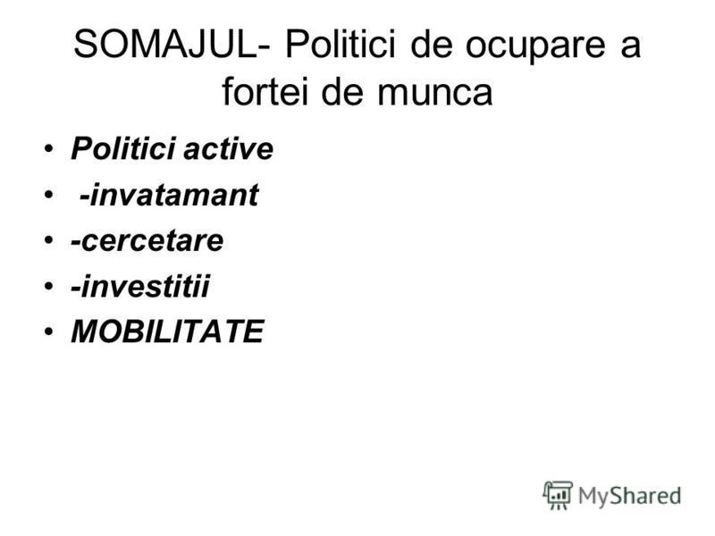 SOMAJUL- Politici de ocupare a fortei de munca Politici active -invatamant -cercetare -investitii MOBILITATE