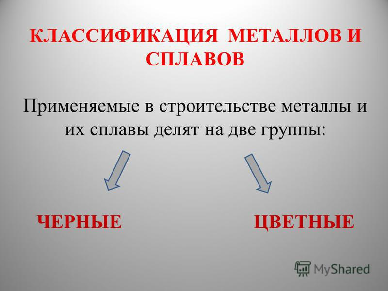 КЛАССИФИКАЦИЯ МЕТАЛЛОВ И СПЛАВОВ Применяемые в строительстве металлы и их сплавы делят на две группы: ЧЕРНЫЕ ЦВЕТНЫЕ