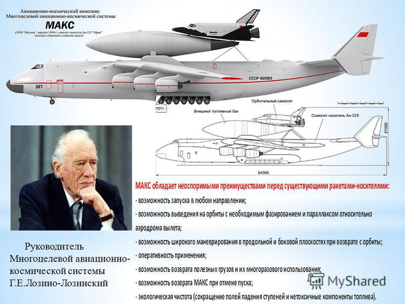 Руководитель Многоцелевой авиационно- космической системы Г.Е.Лозино-Лозинский