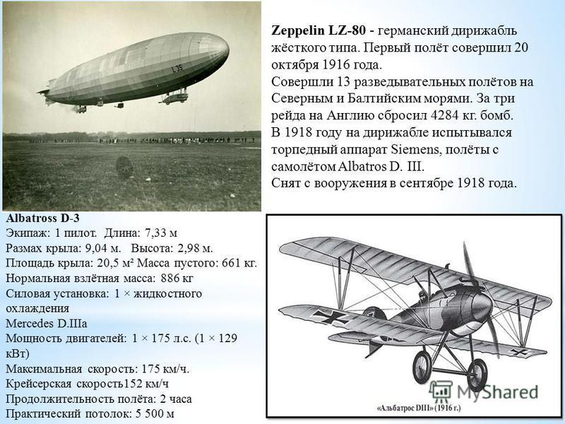 Albatross D-3 Экипаж: 1 пилот. Длина: 7,33 м Размах крыла: 9,04 м. Высота: 2,98 м. Площадь крыла: 20,5 м² Масса пустого: 661 кг. Нормальная взлётная масса: 886 кг Силовая установка: 1 × жидкостного охлаждения Mercedes D.IIIa Мощность двигателей: 1 ×