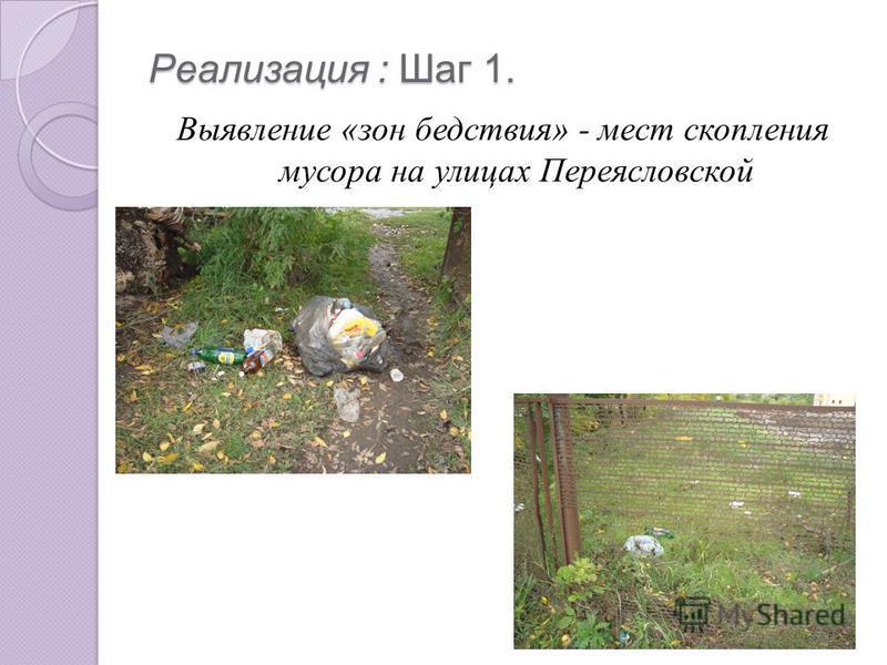Реализация : Шаг 1. Выявление «зон бедствия» - мест скопления мусора на улицах Переясловской