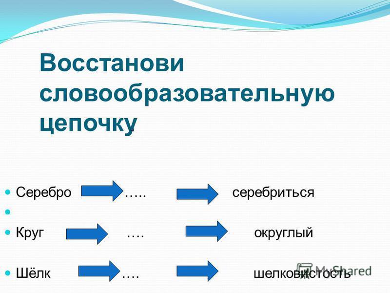 Восстанови словообразовательную цепочку Серебро ….. серебриться Круг …. округлый Шёлк …. шелковистость