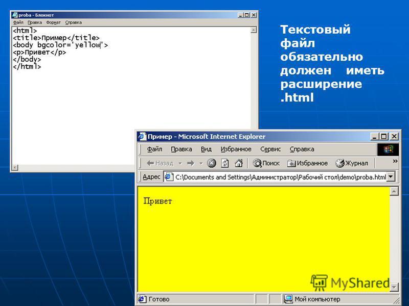 Текстовый файл обязательно должен иметь расширение.html