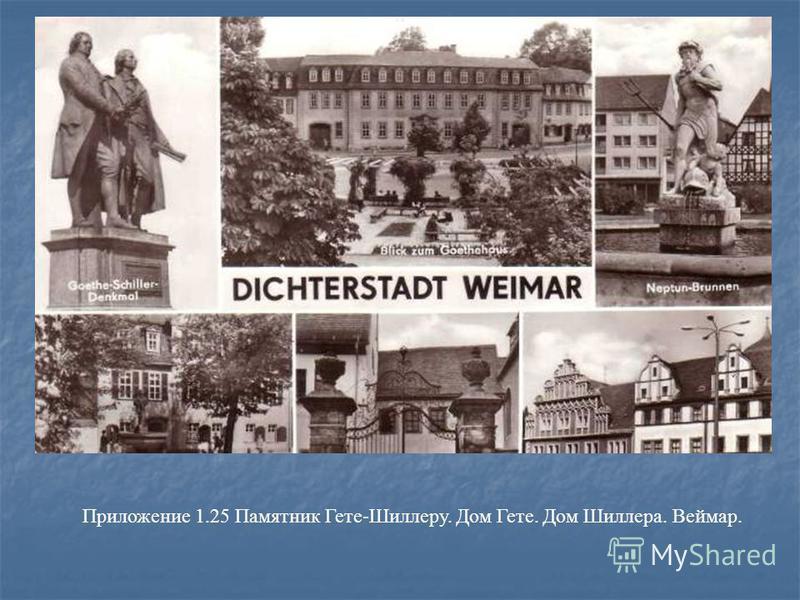 Приложение 1.25 Памятник Гете-Шиллеру. Дом Гете. Дом Шиллера. Веймар.