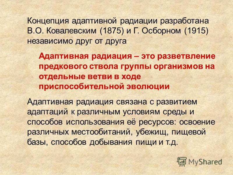 Концепция адаптивной радиации разработана В.О. Ковалевским (1875) и Г. Осборном (1915) независимо друг от друга Адаптивная радиация – это разветвление предкового ствола группы организмов на отдельные ветви в ходе приспособительной эволюции Адаптивная