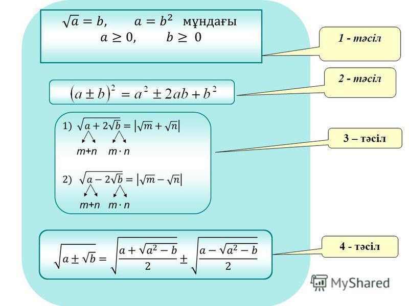 Күрделі радикалдарды есептеу формулалары