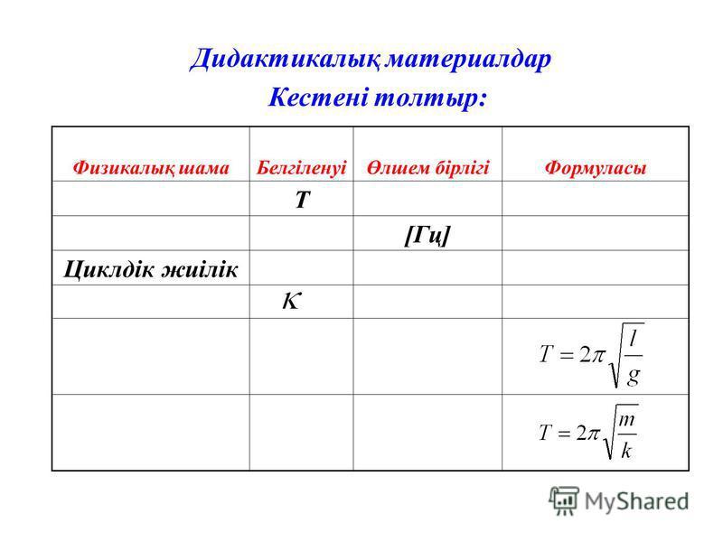 Кестені толтыр: Физикалық шамаБелгіленуіӨлшем бірлігіФормуласы Т [Гц] Циклдік жиілік Дидактикалық материалдар