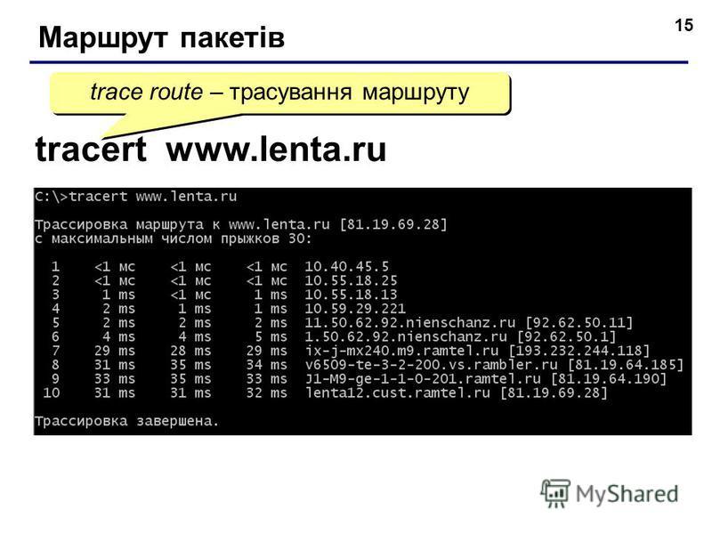 15 Маршрут пакетів tracert www.lenta.ru trace route – трасування маршруту