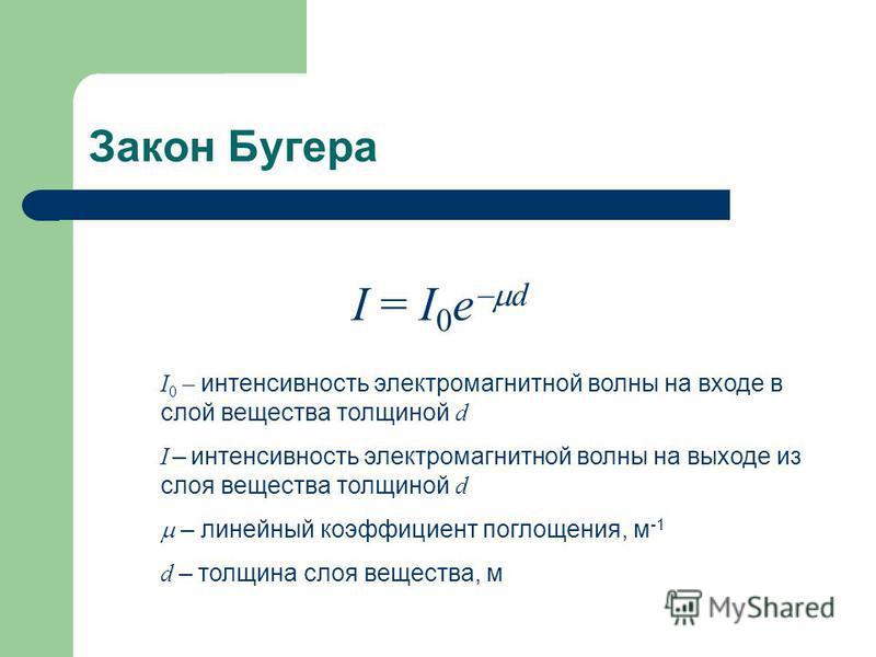 Закон Бугера I 0 – интенсивнеость электромагнитной волны на входе в слой вещества толщиной d I – интенсивнеость электромагнитной волны на выходе из слоя вещества толщиной d – линейный коэффициент поглощения, м -1 d – толщина слоя вещества, м I = I 0