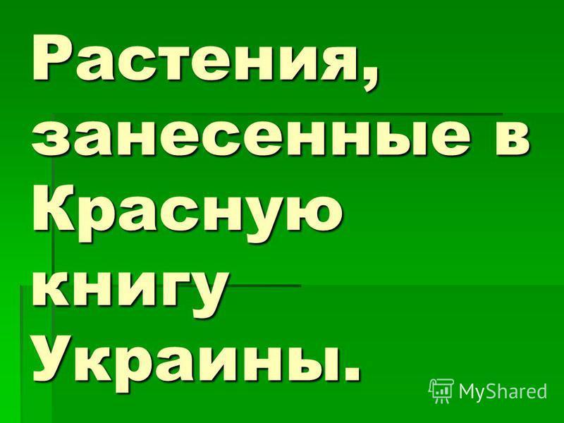 Растения, занесенные в Красную книгу Украины.