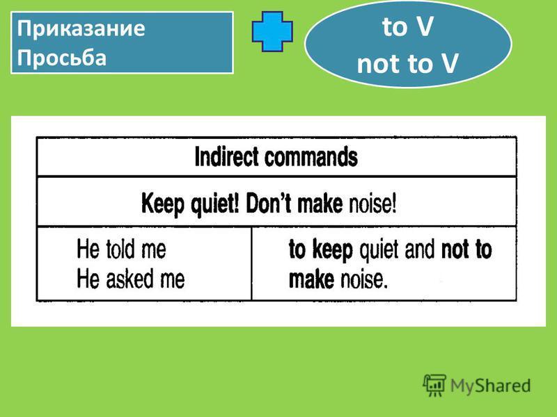 Приказание Просьба to V not to V