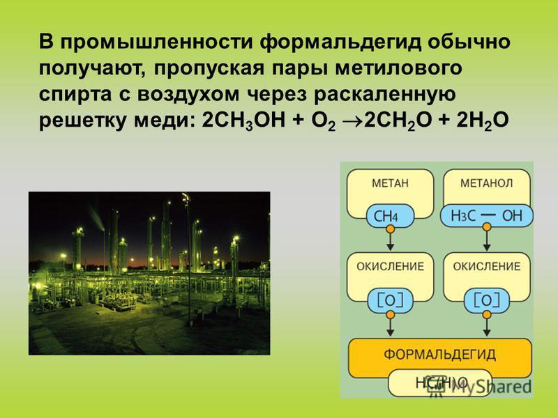 В промышленности формальдегид обычно получают, пропуская пары метилового спирта с воздухом через раскаленную решетку меди: 2CH 3 ОН + O 2 2CH 2 O + 2H 2 O