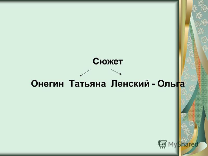 Сюжет Онегин Татьяна Ленский - Ольга