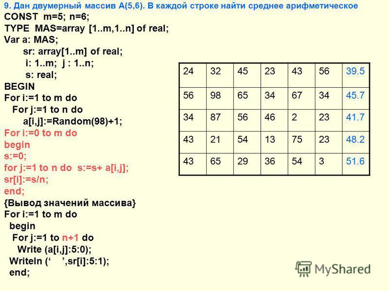 9. Дан двумерный массив А(5,6). В каждой строке найти среднее арифметическое CONST m=5; n=6; TYPE MAS=array [1..m,1..n] of real; Var a: MAS; sr: array[1..m] of real; i: 1..m; j : 1..n; s: real; BEGIN For i:=1 to m do For j:=1 to n do a[i,j]:=Random(9