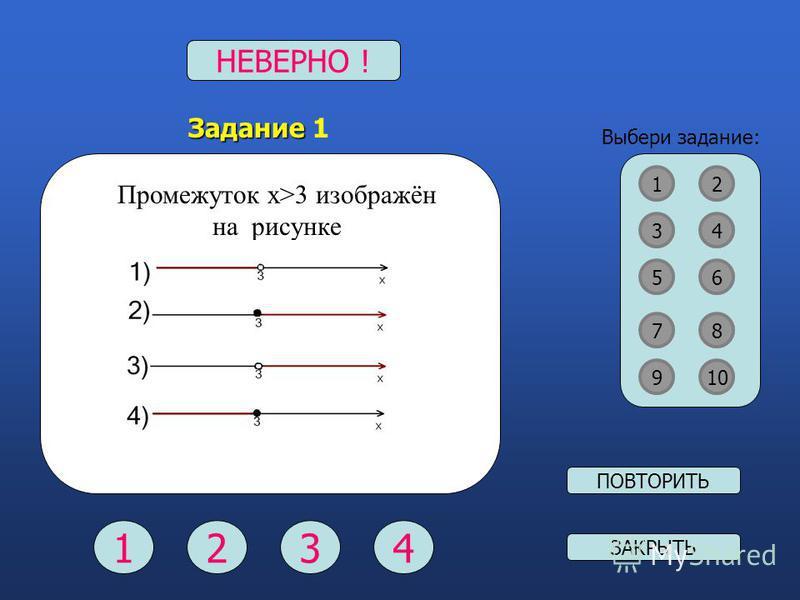 Выбери задание: 12 34 87 56 910 Задание Задание 1 Промежуток х>3 изображён на рисунке ВЕРНО !НЕВЕРНО ! 1234 ПОВТОРИТЬ ЗАКРЫТЬ