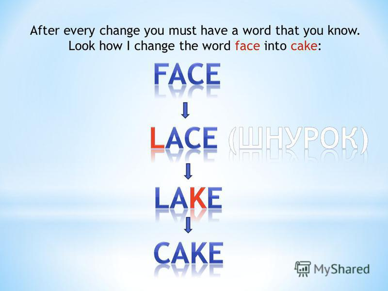 After every change you must have a word that you know. Look how I change the word face into cake: