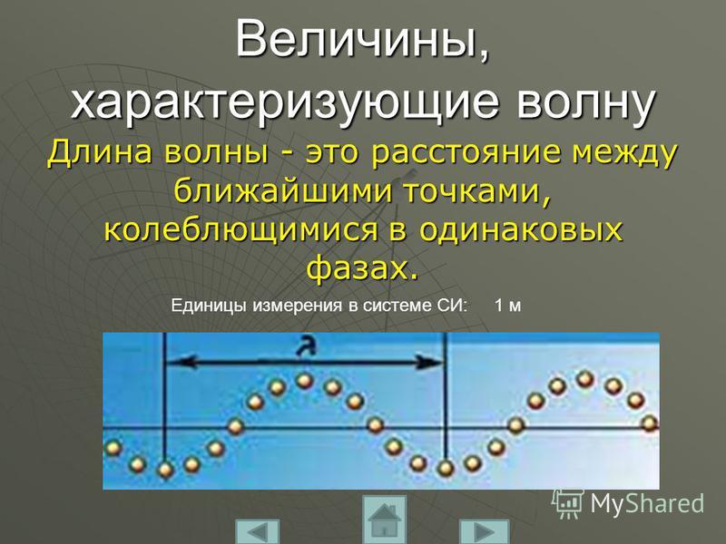 Величины, характеризующие волну Длина волны - это расстояние между ближайшими точками, колеблющимися в одинаковых фазах. Единицы измерения в системе СИ: 1 м