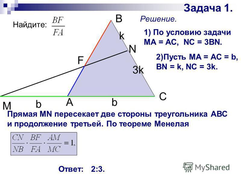 Задача 1. A M B N C k b 3k b Решение. 1) По условию задачи МА = АС, NC = 3BN. 2)Пусть МА = АС = b, BN = k, NC = 3k. Прямая MN пересекает две стороны треугольника АВС и продолжение третьей. По теореме Менелая Ответ: 2:3. Найдите: F
